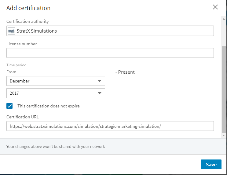 How to add your StratX Simulations certification on Linked In