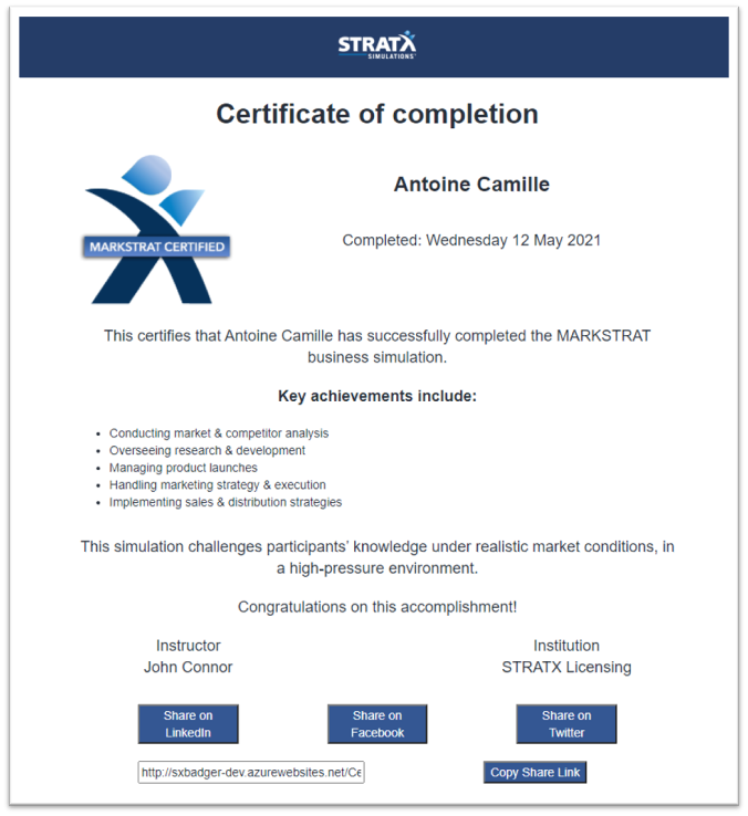 Markstrat certificate of completion